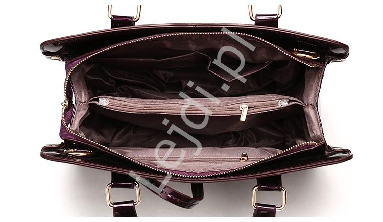 642a8de506809 Śliwkowe torebki damskie + kopertówka + saszetka | zestaw 3 lakierowane  torebki