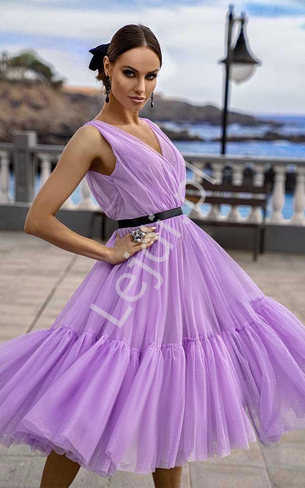 Lawendowa sukienka midi z tiulu, Paris - Lejdi