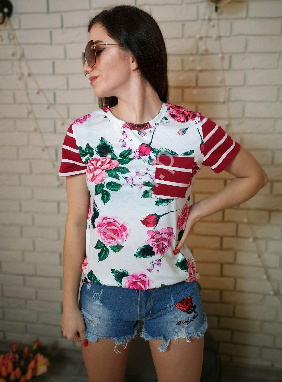 Letnia bluzka damska w kwiaty z paskami na plecach bordowo białymi 0066 - Lejdi