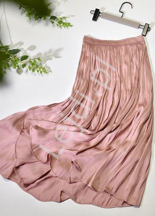 Letnia pudrowo różowa spódnica damska 2367 - Lejdi