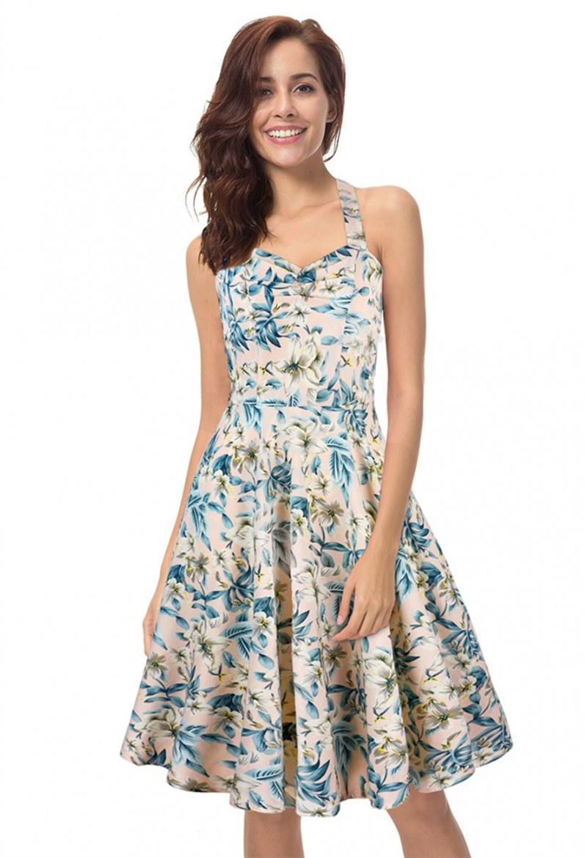 Letnia sukienka rozkloszowana w kwiaty z wiązaniem na szyję 0492