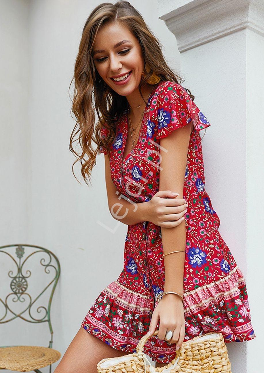 Letnia sukienka w kwiaty szmizjerka, czerwona łączka - Lejdi