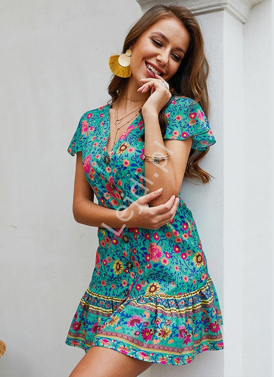 Letnia sukienka w kwiaty szmizjerka, turkusowa łączka - Lejdi