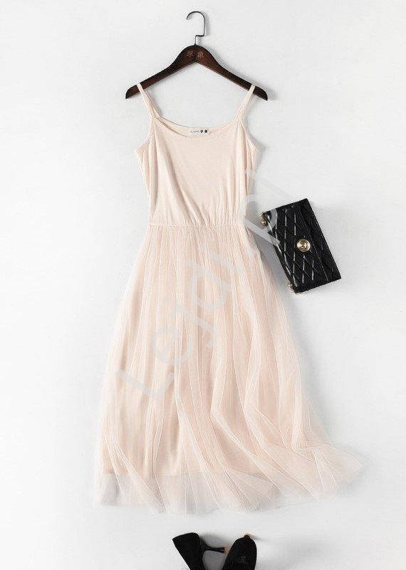 Letnia sukienka z tiulową spódnicą, beżowa 0916 - Lejdi