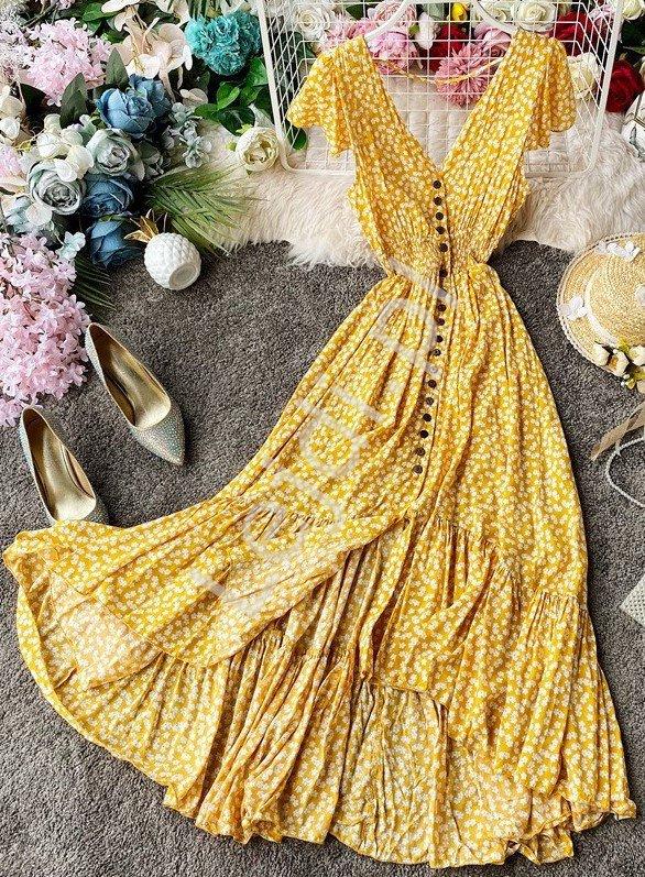 Letnia sukienka zwiewna w białe kwiaty na żółtym tle 3724 - Lejdi