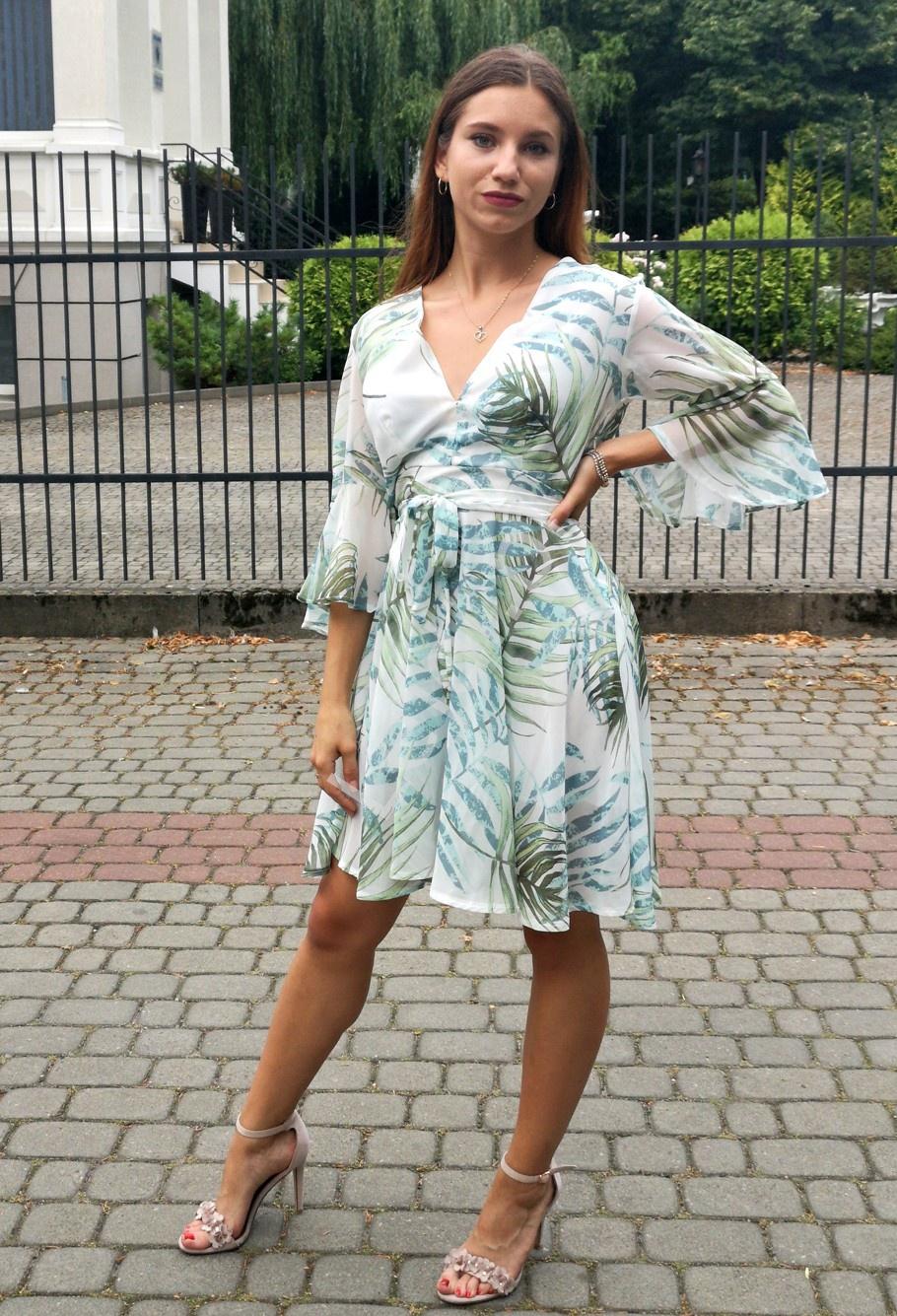 Letnia szyfonowa sukienka w liście 996 - Lejdi