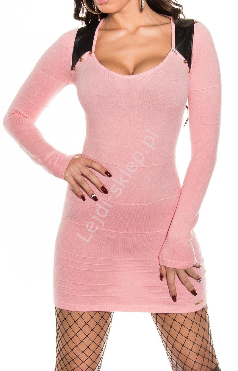 Łososiowa bandażowa sukienka z czarnymi wstawkami imitującymi skórkę, 30% wełna + 26% sztuzcny jedwab 8123 - Lejdi