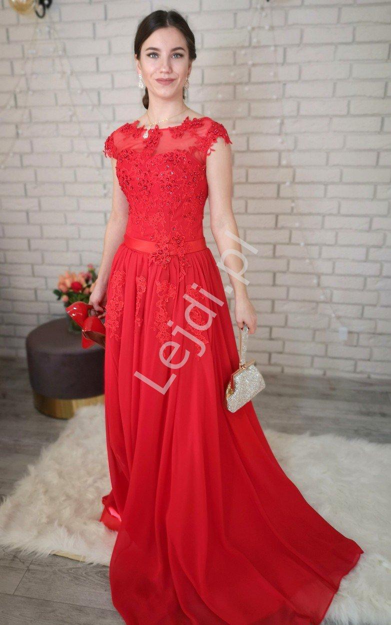Luksusowa czerwona suknia z perełkami i koralikami - Lejdi