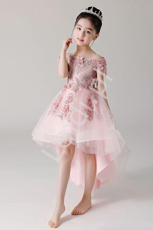 Luksusowa sukienka z trenem na wesele, bal, komunie 6002 - Lejdi