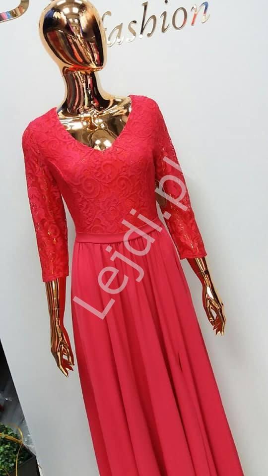 Malinowa sukienka wieczorowa z rozcięciem ukazującym nogę Teresa - Lejdi
