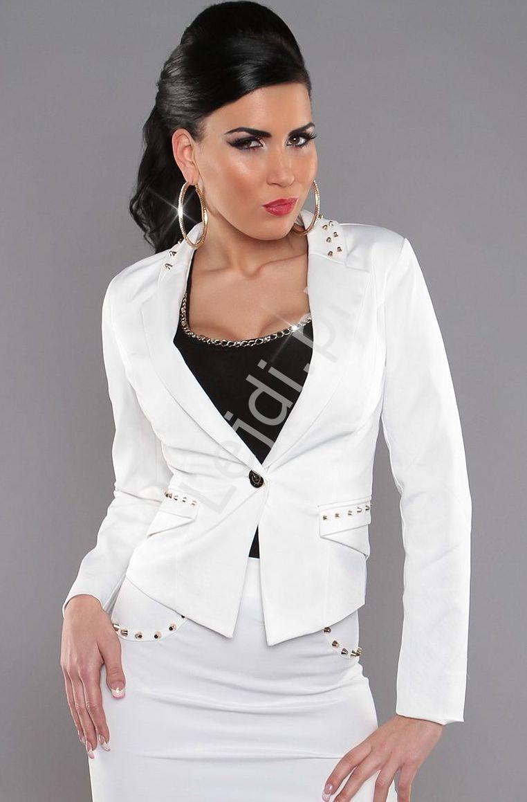 Marynarka damska z jetami | biały żakiet damski V923 - Lejdi