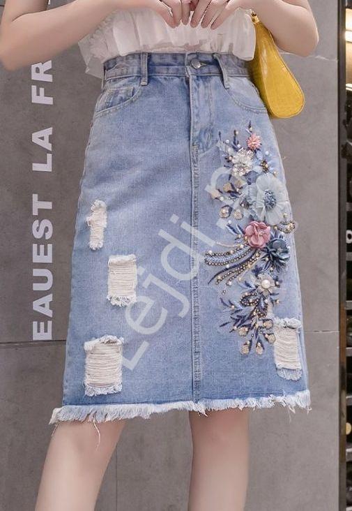 Midi spódnica jeansowa z kwiatami 3D 217 - Lejdi