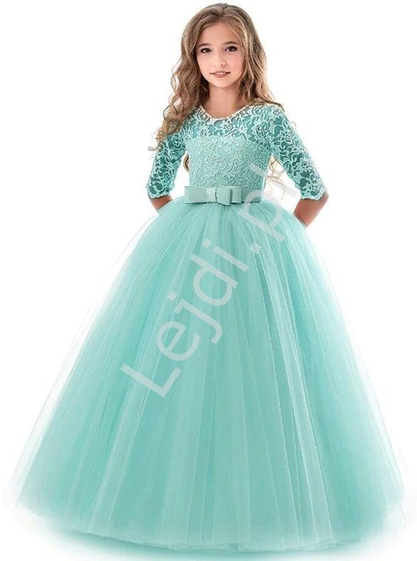 Miętowa długa sukienka dla dziewczynki 022 - Lejdi