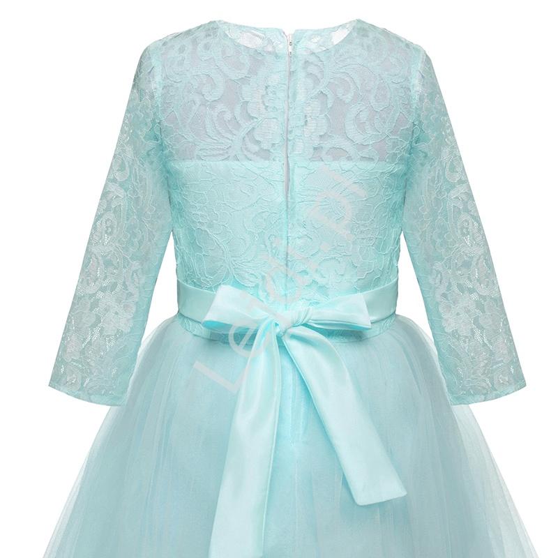 Miętowa długa sukienka dla dziewczynki 022