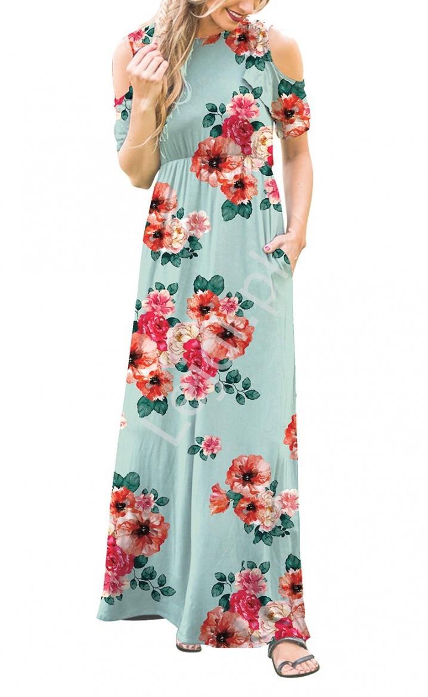 Miętowa sukienka letnia w kwiaty z falbankami na ramionach 3519 - Lejdi