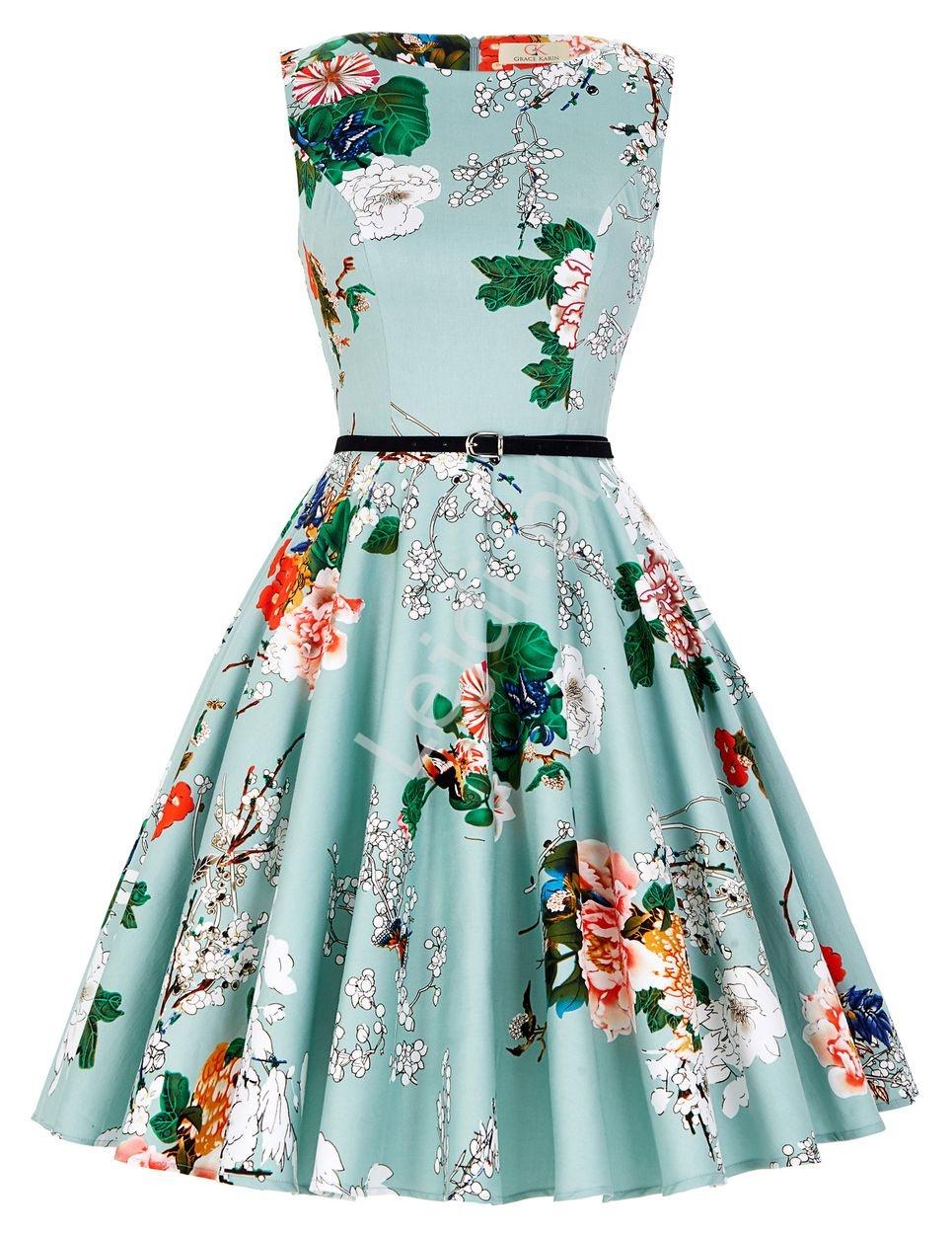Miętowa sukienka retro kolorowe kwiaty w stylu pin up 6086 - Lejdi