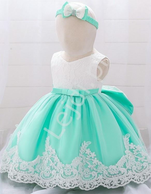 Miętowo biała sukienka dla dziewczynki - komplet z opaską - Lejdi