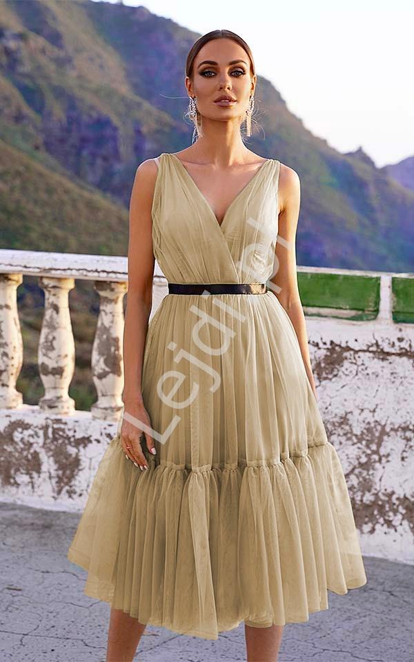 Miodowa sukienka tiulowa midi, Paris - Lejdi
