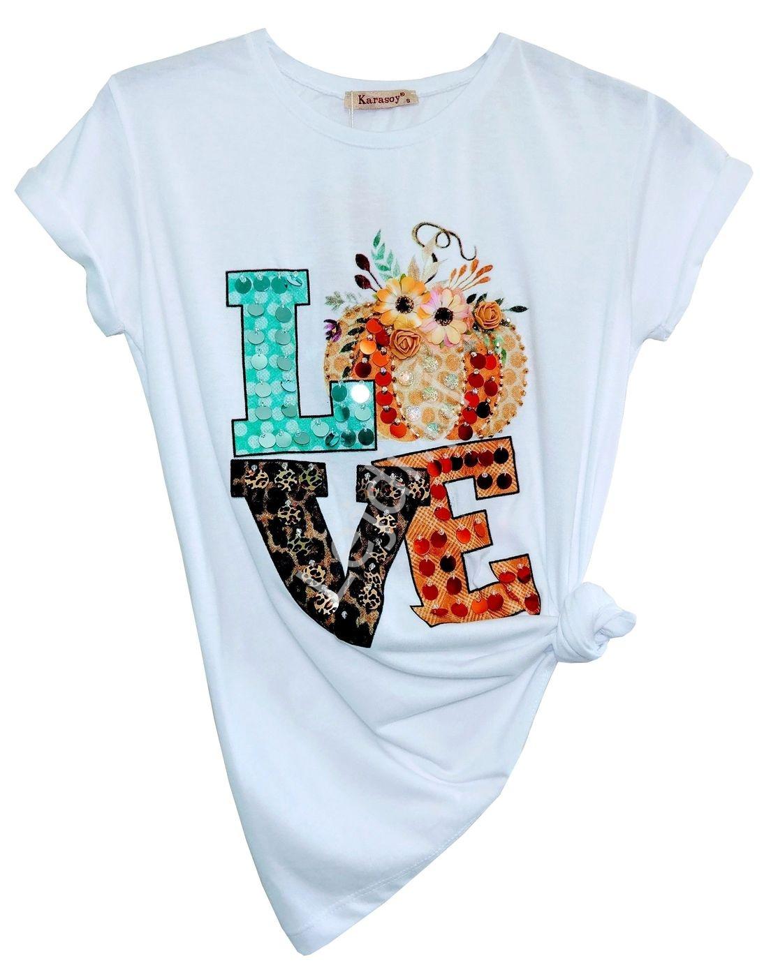 Modna koszulka damska z zdobionym napisem LOVE - Lejdi