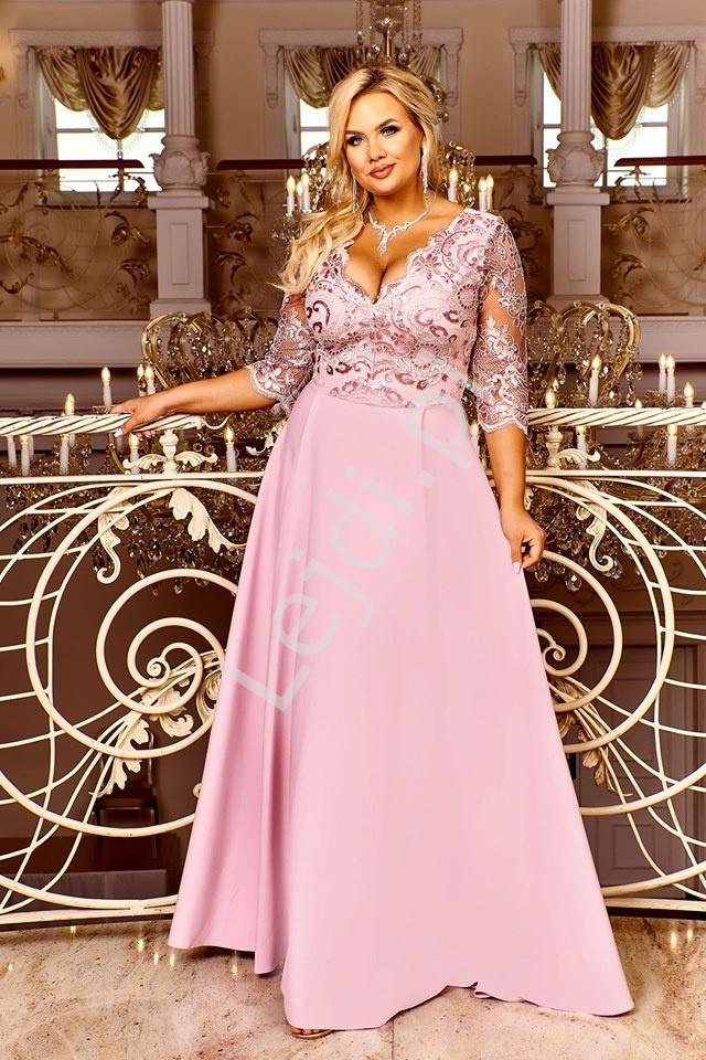 Modna sukienka plus size na wesele, dla druhny, na studniówkę - Crystal pustynny róż - Lejdi