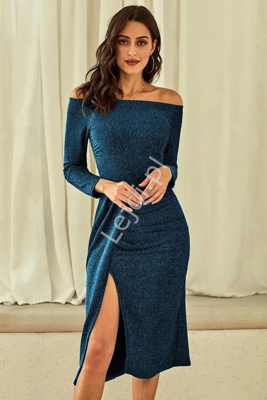 Morska połyskująca sukienka seksownie opinająca ciało 566 - Lejdi