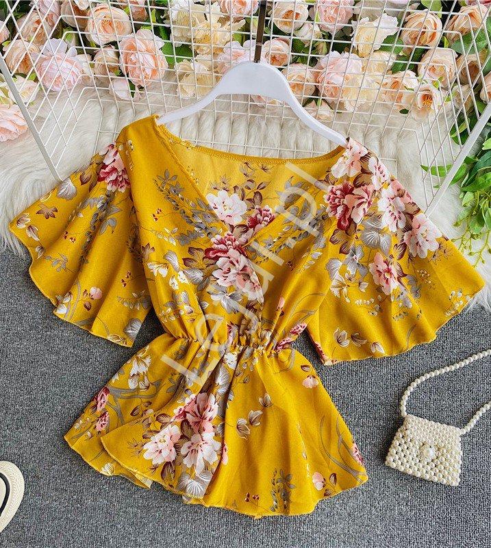 Musztardowa bluzka baskinka w kwiatowy wzór 4164 - Lejdi