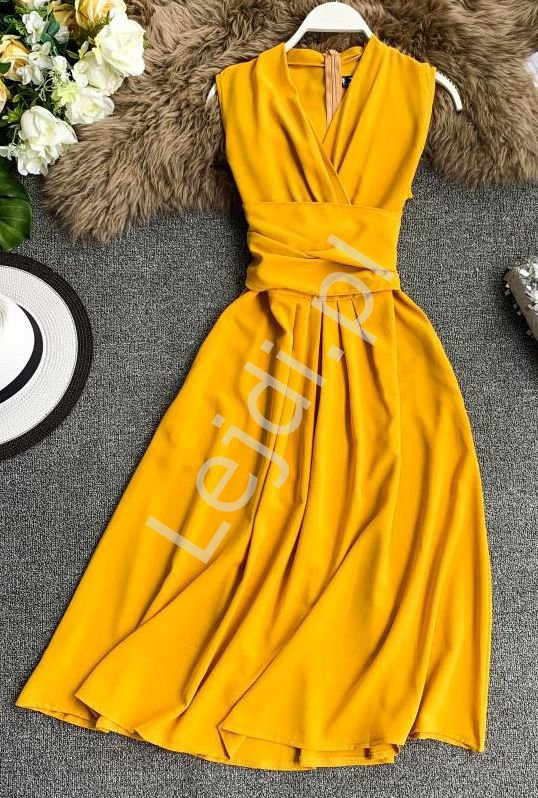 Musztardowa sukienka na wesele, poprawiny, komunie 0961 - Lejdi
