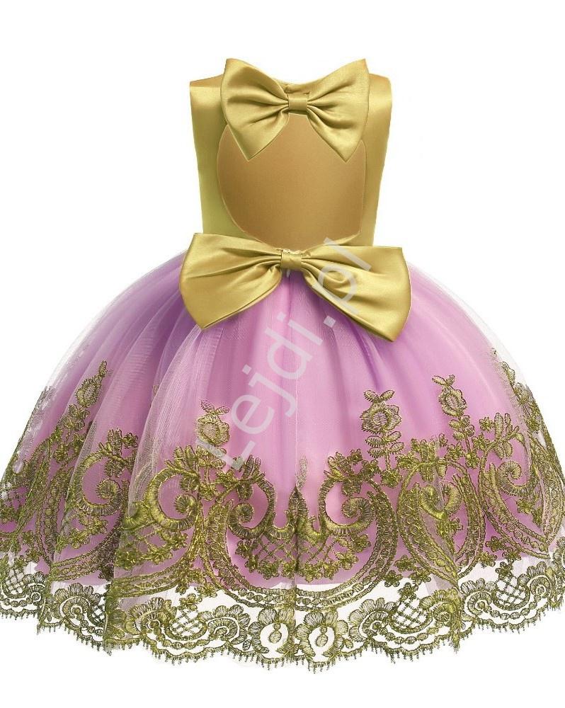 Musztardowo różowa sukienka dla dziewczynki na urodziny, wesele, bal - Lejdi