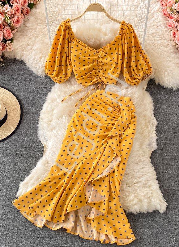 Musztardowy komplet Hiszpanka, krótka bluzka i spódnica w groszki 4197 - Lejdi