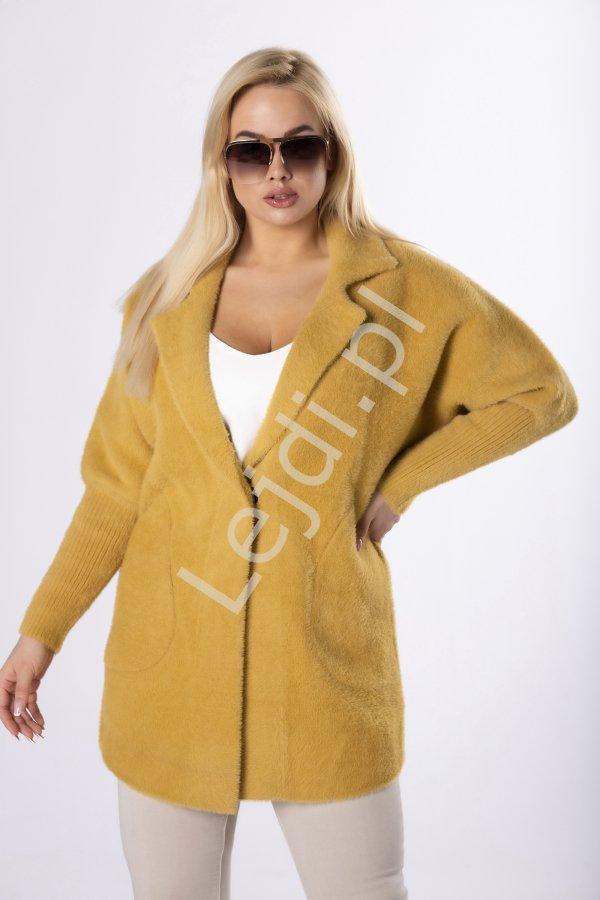 Musztardowy płaszcz Alpaka, ciepła narzutka z alpak - Lejdi