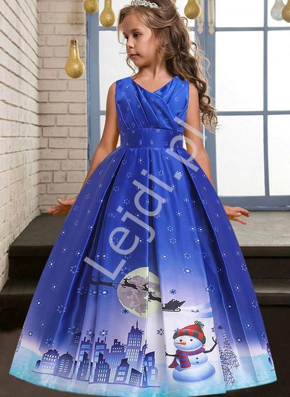 Niebieska długa sukienka dla dziewczynki na święta 057 - Lejdi