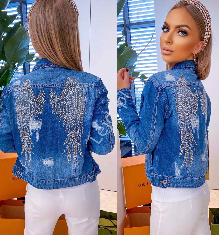 Niebieska jeansowa kurtka z skrzydłami cyrkoniowymi - Lejdi