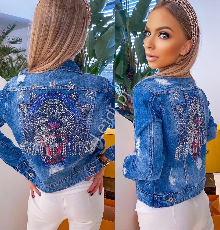 Niebieska jeansowa kurtka z tygrysem cyrkoniowym - Lejdi