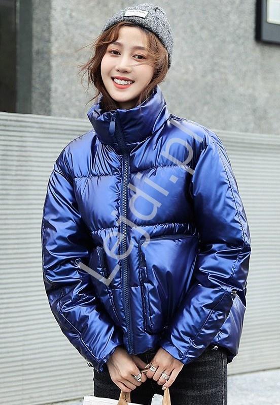 Niebieska kurtka metaliczna, puchowa zimowa kurtka 8512 - Lejdi