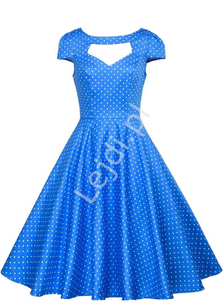 Niebieska rozkloszowana sukienka w białe kropki pin up na