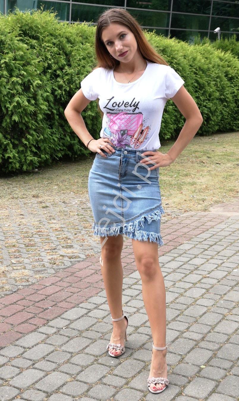 Niebieska spódnica jeansowa z frędzlami 8543 - Lejdi