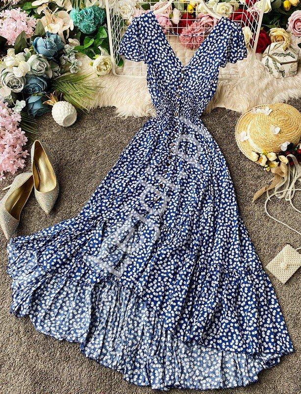 Niebieska sukienka w kwiaty, letnia sukienka zwiewna 3724 - Lejdi