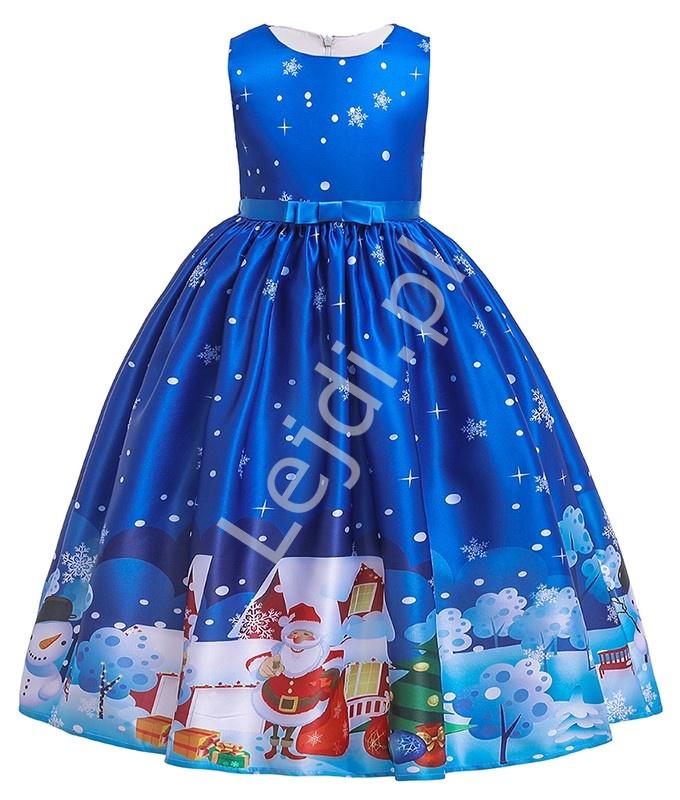 Niebieska świąteczna sukienka dla dziewczynki 051 - Lejdi