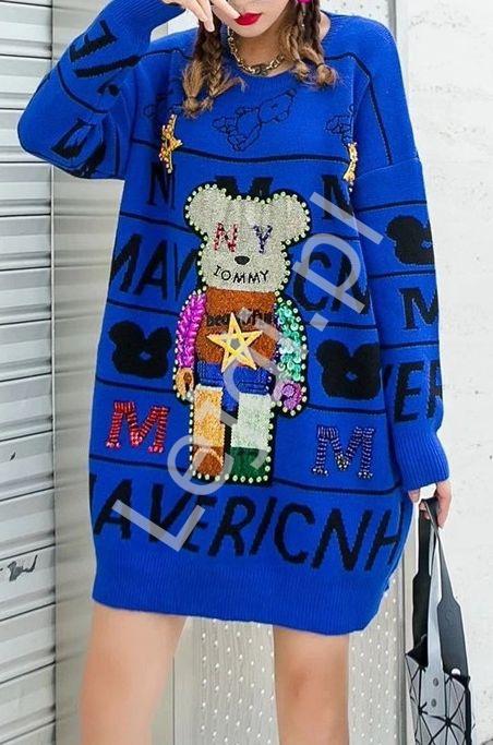 Niebieski luksusowy sweter z mega zdobieniem , kryształkowy miś, cekiny - Lejdi
