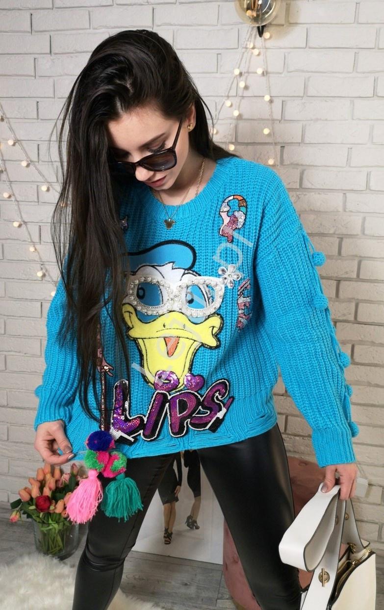 Niebieski sweter z grubej włóczki z Kaczorem z perełkowymi okularami - Lejdi