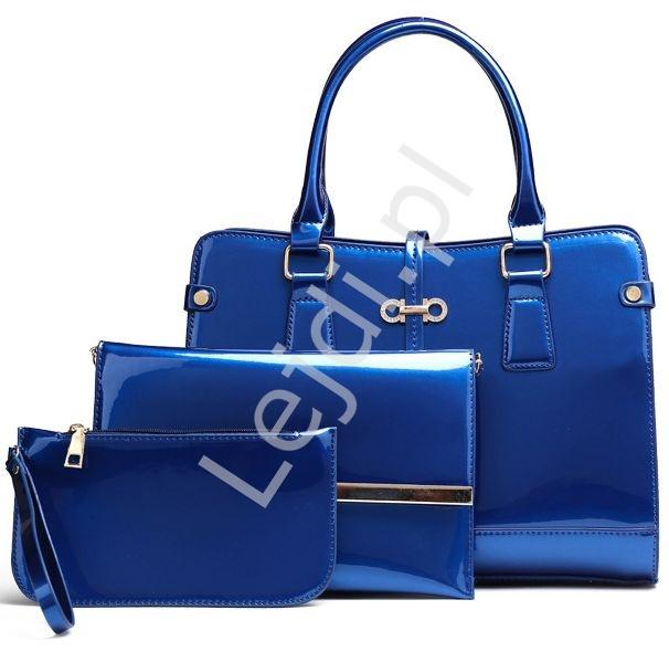 755ca5757b91a Niebieskie torebki damskie + kopertówka + saszetka | zestaw 3 lakierowane  torebki