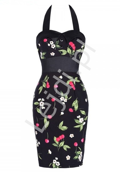 Ołówkowa czarna sukienka w kwiaty, sukienka retro - Lejdi