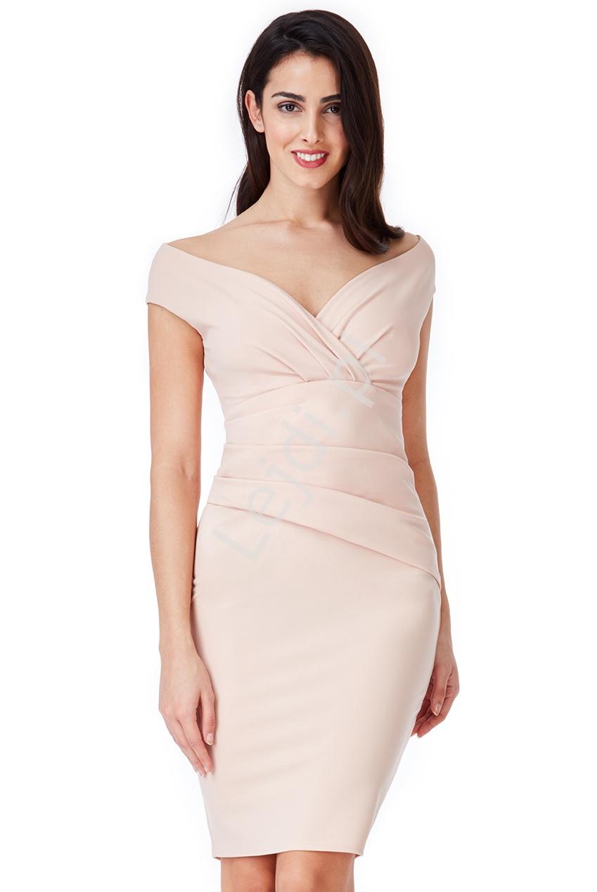Ołówkowa elegancka sukienka wieczorowa z marszczeniami w kolorze zgaszonego różu 1092 - Lejdi