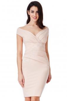 5c582c3abf Ołówkowa elegancka sukienka wieczorowa z marszczeniami w kolorze zgaszonego  różu 1092