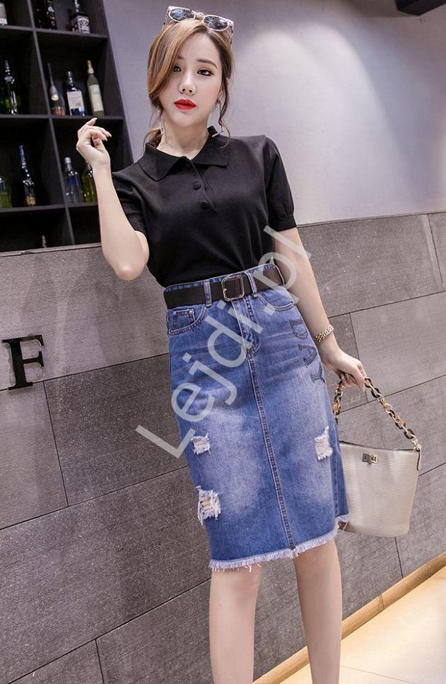 Ołówkowa jeansowa spódnica damska z dziurami 315 - Lejdi