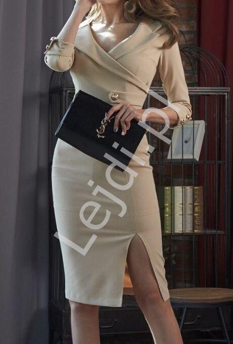 Ołówkowa kopertowa sukienka z patkami 3928 - Lejdi