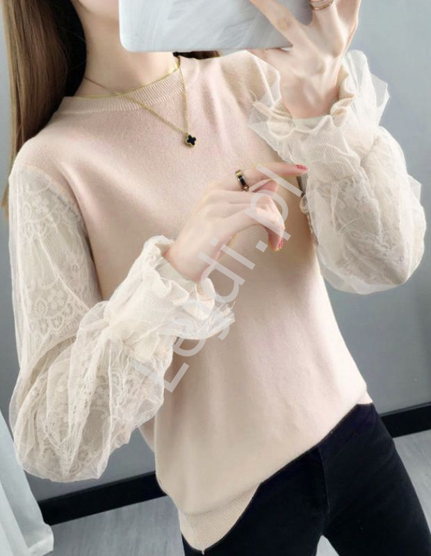 Oryginalna bluzka z koronkowo tiulowym rękawem, beżowa brzoskwinia 0586 - Lejdi