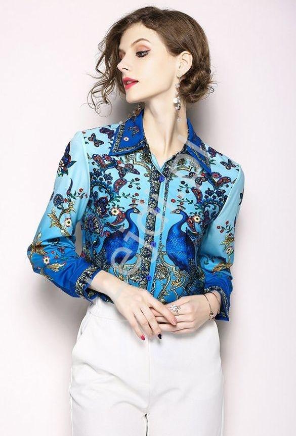 Oryginalna koszula damska z pawiami - Lejdi
