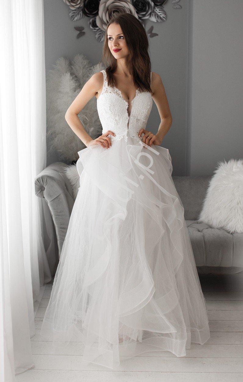 Oszałamiająca suknia ślubna Fracuska z wspaniałym dołem 2265 - Lejdi