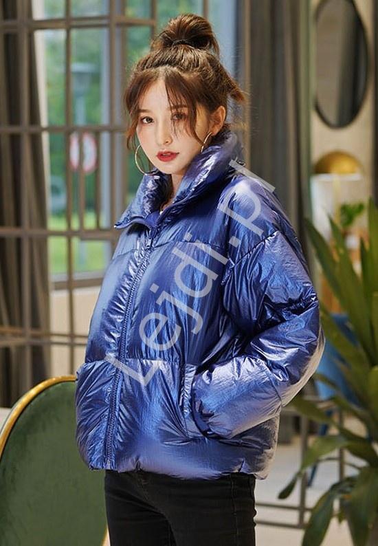 Oversizowa kurtka metaliczna w niebieskim kolorze 9184 - Lejdi